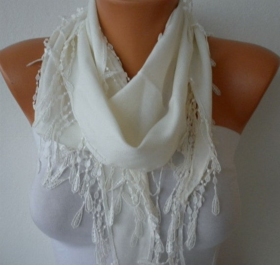 Creamy White Scarf - Pashmina Scarf - Cowl Scarf with Lace Edge - bridesmaids gifts - Off White - fatwoman