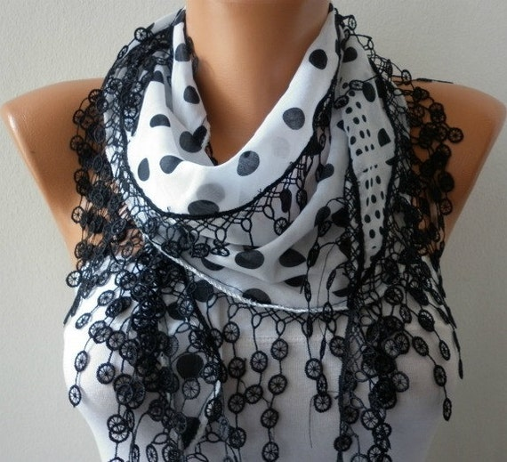 Black White Scarf Spring Summer Scarf - Cotton Scarf -  Cowl  Gift For Her  - Polka dot - Women Fashion Accessories fatwoman