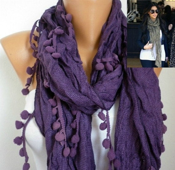 Purple Women Shawl Scarf - Headband Necklace Cowl