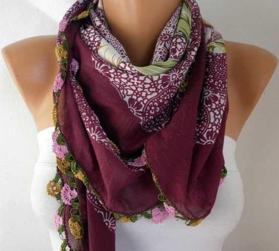 Turkish Anatolians Scarf - Oya - Yemeni - Cowl  - Multicolor - Burgundy - New