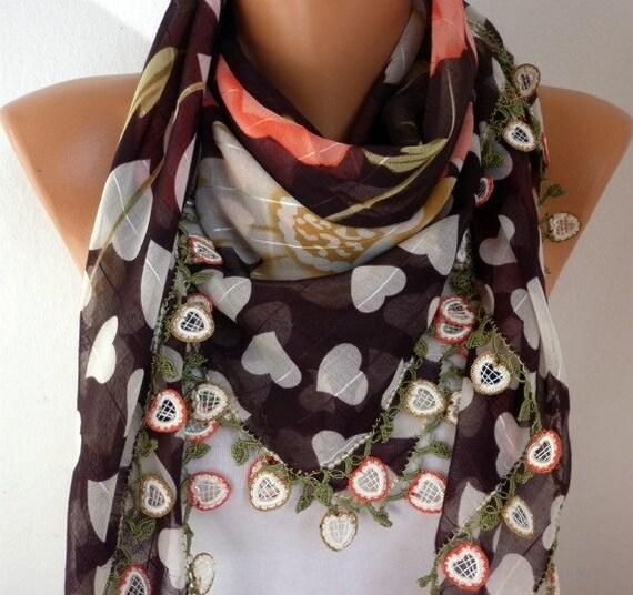 Turkish Anatolians Scarf - Oya - Yemeni - Cowl Headband Necklace - Multicolor - New