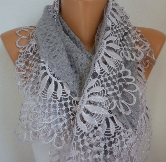 Gray Scarf  -  Headband Necklace Cowl with Lace Edge