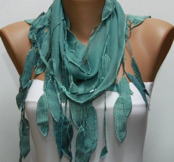 Scarf , Teal Cotton Scarf Headband Woman Necklace Cowl