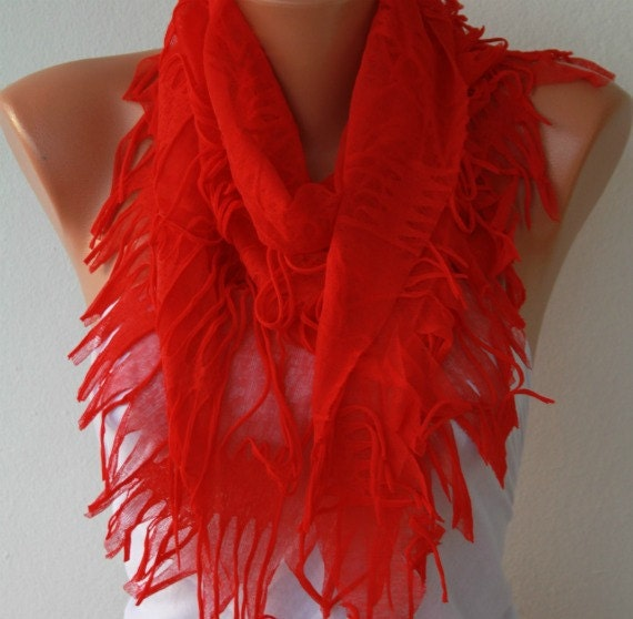 Red Scarf Summer Teacher Gift  Shawl Scarf Cowl Scarf Gift Ideas For Her Women's Fashion Accessories