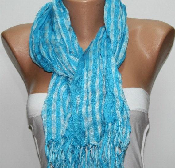 Blue White Plaid Scarf Summer  Scarf Tartan Scarf Women Shawl Scarf - Cowl Scarf - Women's Fashion Accessories