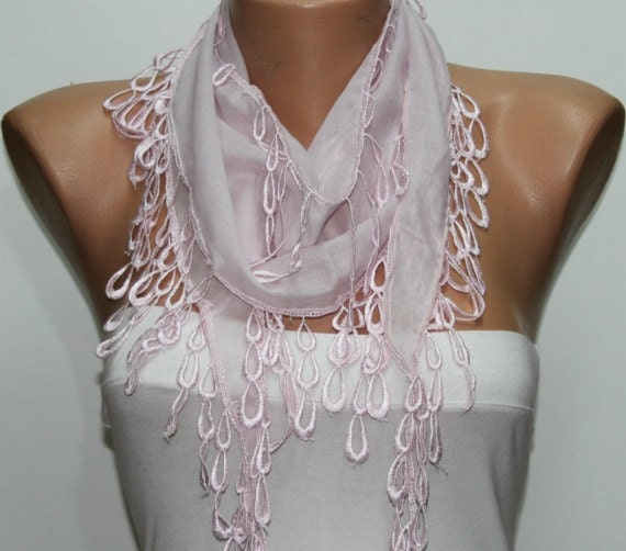 WAS 15, NOW USD 9.90 - - -Pink Scarf Cotton Scarf  Cowl with  Lace Edge