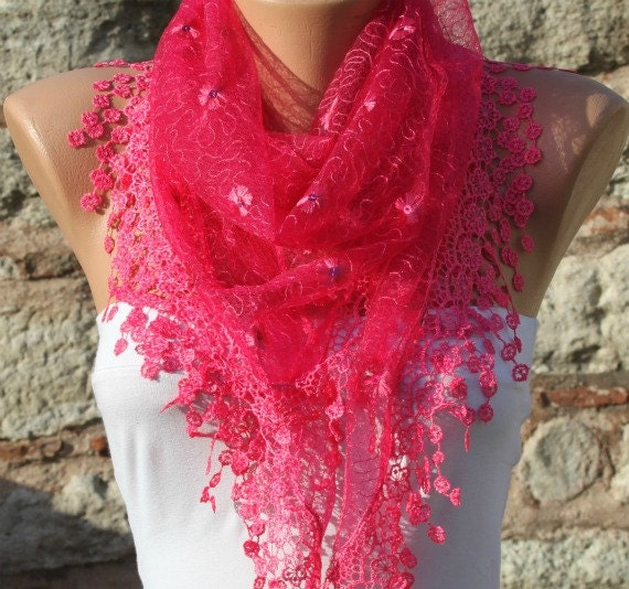 Hot Pink Scarf Shawl Scarf  Cowl Gift Ideas For Her Women Fashion Accessories