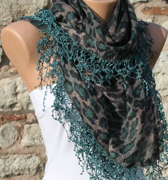 Green  Leopard Scarf Fringe Scarf Spring Summer Scarf Multicolor Scarf - Cowl Gift Ideas For Her Women Fashion Accessories by Fatwoman