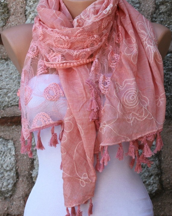 Tea Rose Tasseled  Scarf Shawl Scarf  Cowl Scarf - Bridesmaid Gift Gift Ideas  For Her Women Fashion Accessories