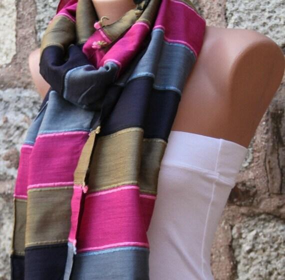 Multicolor Silk Shawl Scarf - Headband Necklace Cowl