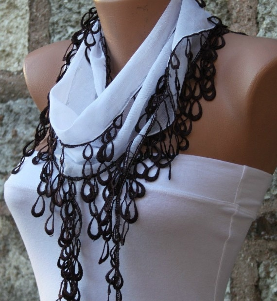 White Scarf Cotton Scarf  Cowl with  Lace Edge - fatwoman