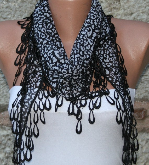 Leopard Scarf  - Cowl with  Lace Edge