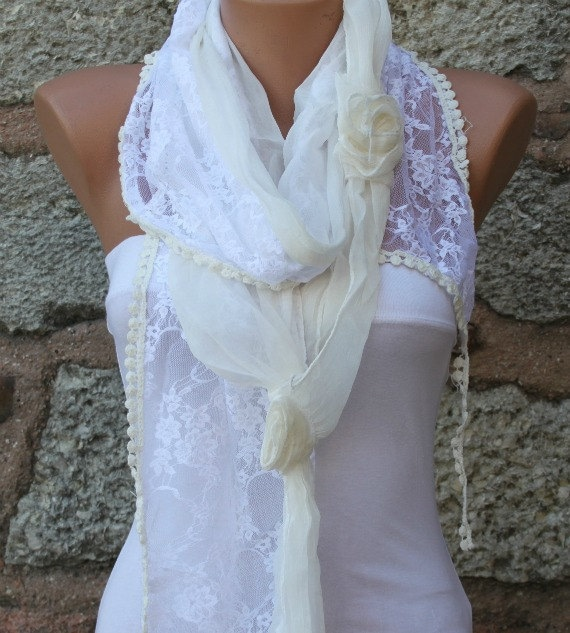 ON SALE - Creamy White Lace Scarf -  Cowl Scarf - bridesmaid gift  Shawl Bridal Accessories Women Fashion Acessories best selling item scarf