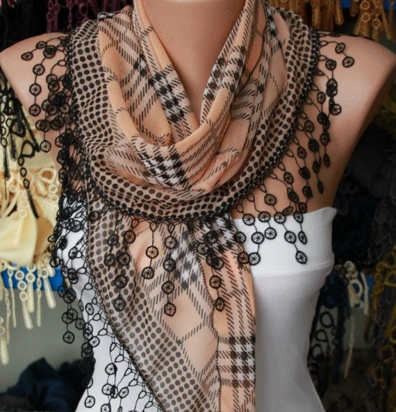 Sandy Brown Plaid  Scarf -  Cotton Scarf Headband Necklace Cowl with  Lace Edge