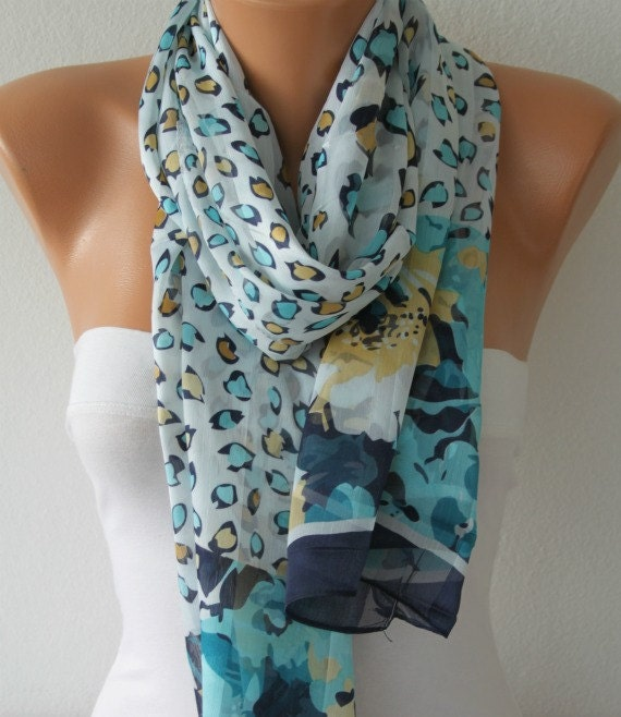 Blue Leopard Print Chiffon Scarf,Wedding Shawl Bridesmaid Gifts Gift Ideas For Her Women Fashion Accessories Women Scarves,Birthday gift