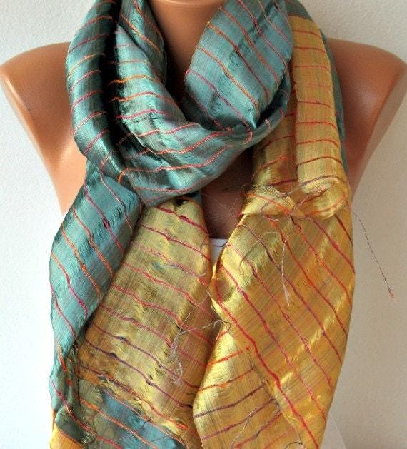 Multicolor Silk Shawl Scarf -  Cowl - fatwoman