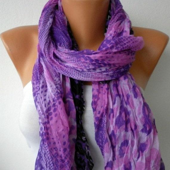 Purple Leopard Women Shawl Scarf -  Cowl  - Multicolor - fatwoman