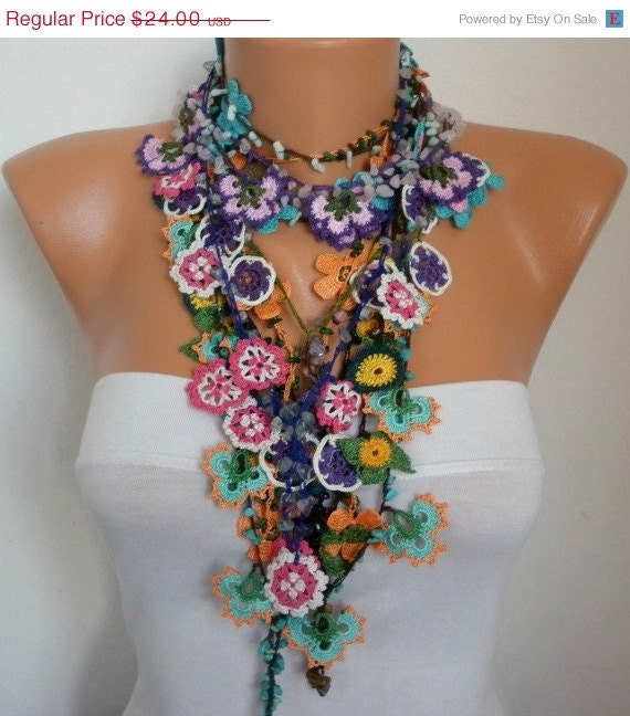 Crocheted Flower Necklace Oya  with semiprecious stones  - Bridesmaids Gifts ( Listing is for SEVEN necklace) - fatwoman