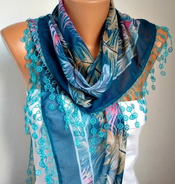 ON SALE - Scarf Shawl - Cotton Weddings Scarves - Cowl with Lace Edge  - Blue