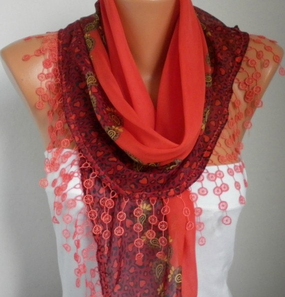 Scarf Shawl - Cotton Weddings Scarves - Cowl with Lace Edge  - Red