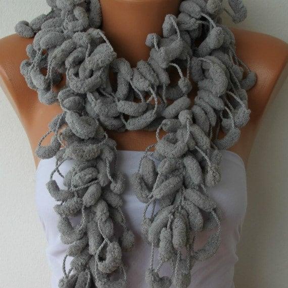 Gray Scarf Knit Scarf - Women Scarves - Knitting Cowl - Crochet Scarf - Pompom - fatwoman