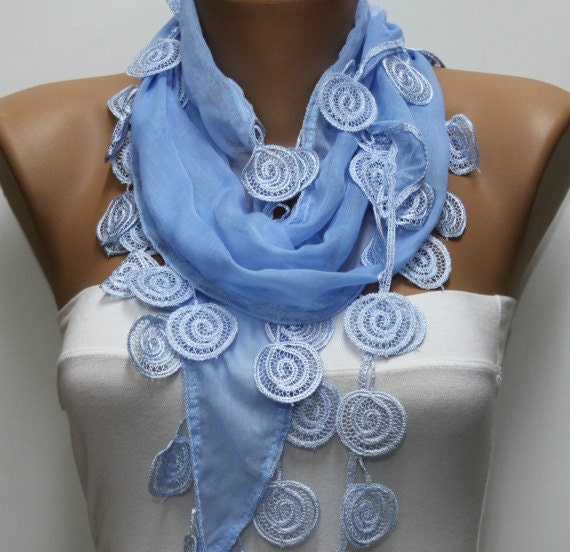 Light Blue  Scarf  - Cotton  Scarf -  Cowl Scarf with Lace Edge   - fatwoman
