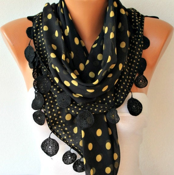 Polka Dot  Scarf -  Cotton Scarves - Cowl with  Lace Edge -black - fatwoman