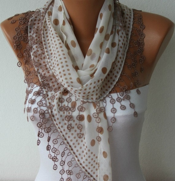 ON SALE - Milky Brown Polka Dot Scarf  Spring Summer Scarf  Cotton Scarf Cowl Scarf  Shawl Gift Ideas For Her Women Fashion Accessories