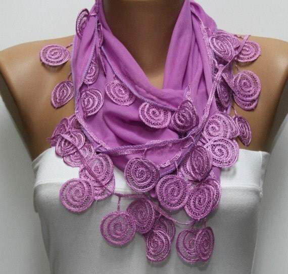 Thulian Pink  Scarf  - Cotton  Scarf -  Cowl with Lace Edge   - fatwoman