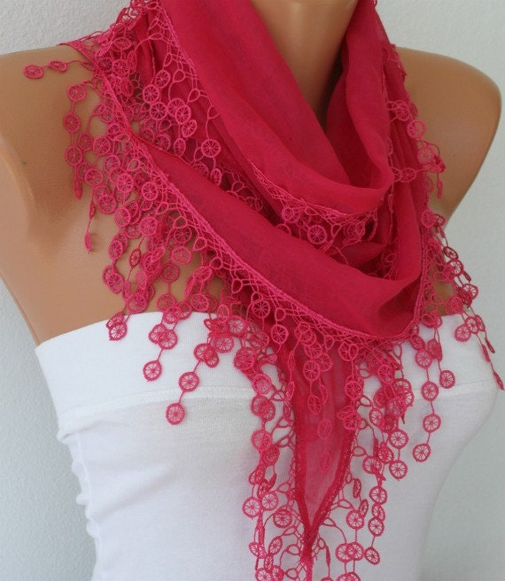 Hot Pink  Scarf  - Cotton  Scarf -  Shawl - Cowl with Lace Edge   - fatwoman