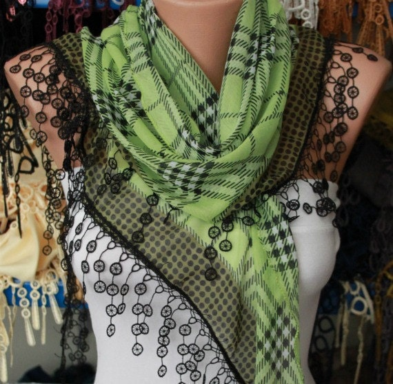 Pistachio Plaid  Scarf -  Cotton Scarf  Cowl with  Lace Edge