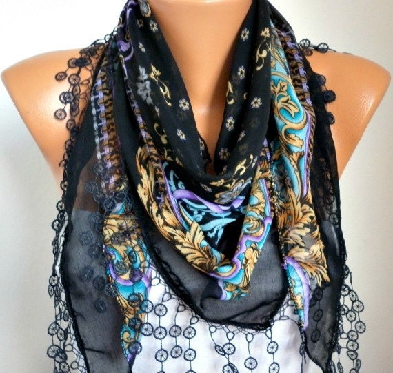 ON SALE - Scarf Shawl - Cotton Weddings Scarves - Cowl with Lace Edge - Black Multicolor