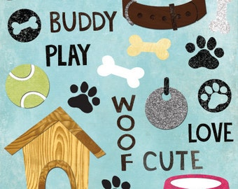 Dog Clip Art - Digital Collage and Scrapbooking Elements - 28 Dog Themed Clipart Images