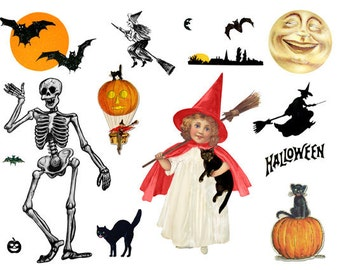 Halloween Ephemera Digital Collage Sheet Image Downloadable Halloween Digital Images