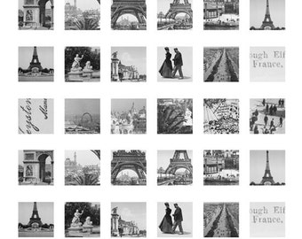 80% OFF SALE Digital Collage Sheets Vinsage Paris Photographs Ephemera 1x1 inch squares