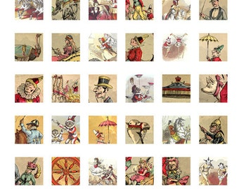 80% OFF SALE Vintage Circus Clip Art - Printable Download 1 x 1 Inch Square Digital Collage Sheet