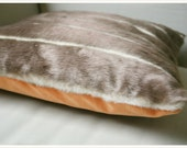 Striped Faux Fur / Honey Orange Velvet Pillow
