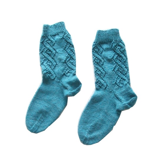 Knitted Socks cotton turquoise with lace (Size US 6, UK 5.5, Europe 38)