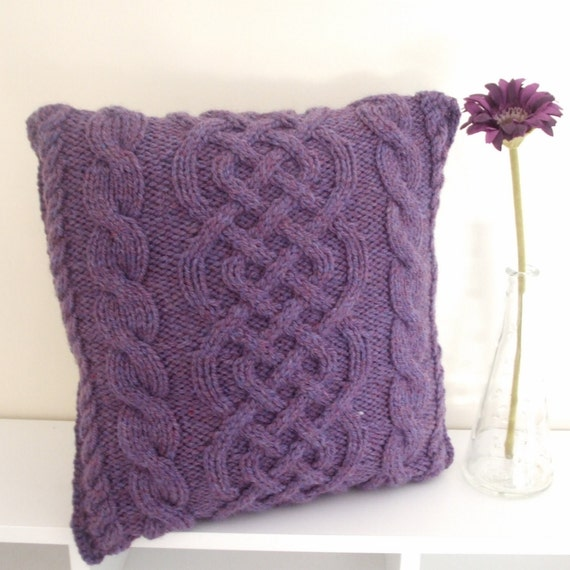 Items similar to Knitted cushion cover celtic pattern purple CIJ discount on ...