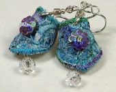 Textile Jewellery - Textile earrings in light blue with crystal beads - Beautiful, unique, unusual handmade art by Wai Yuk Kennedy