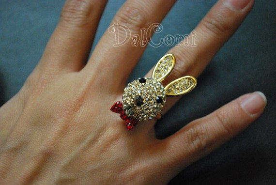 FIRESALE)  C04-Cute Moving Ears of Gold Rabbit Free Size Ring