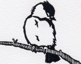 Sleepy Winter Chickadee card