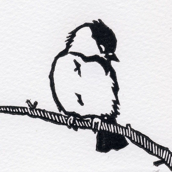 Sleepy Winter Chickadee card
