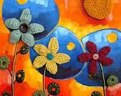 Mixed Media Crochet Painting- Dizzy Daisy
