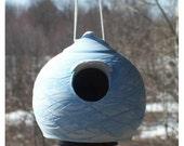 Natural unglazed blue Birdhouse