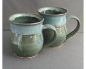 green mug blue rim small mug