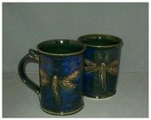 Hand carved dragonfly mug dark blue breaks green