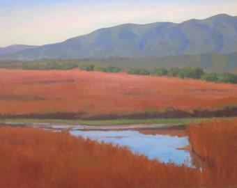 Sale Large Landscape Original Oil Painting Plein Air Carpinteria Mountains Santa Barbara California Impressionist Jennifer Boswell
