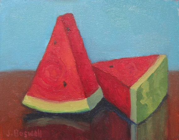 "Jennifer Boswell Original Modern Impressionist Still Life Oil Painting ""Watermelon Slices"" 8x10"