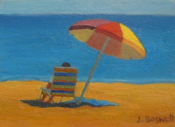 Sale Jennifer Boswell Original Modern Impressionist Beach Umbrella Figurative Oil Painting 5x7